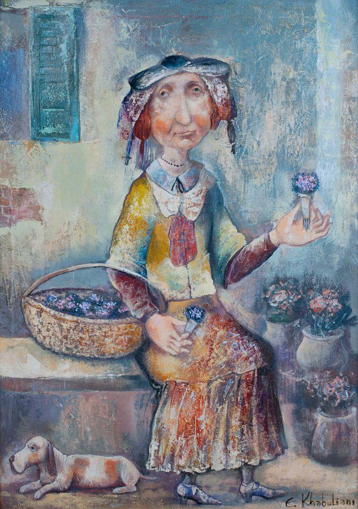 Emzar Khabuliani (b1963; Tbilisi, Georgia)   'Продавщица Фиалок'