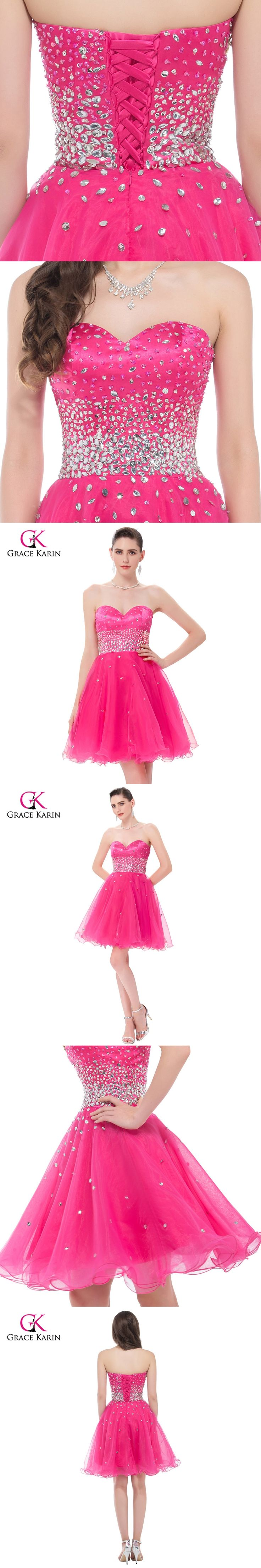 Short Evening Dresses Grace Karin 2017 New Strapless Organza Pink Formal Ball Gowns Dinner Party Dress robe de soiree