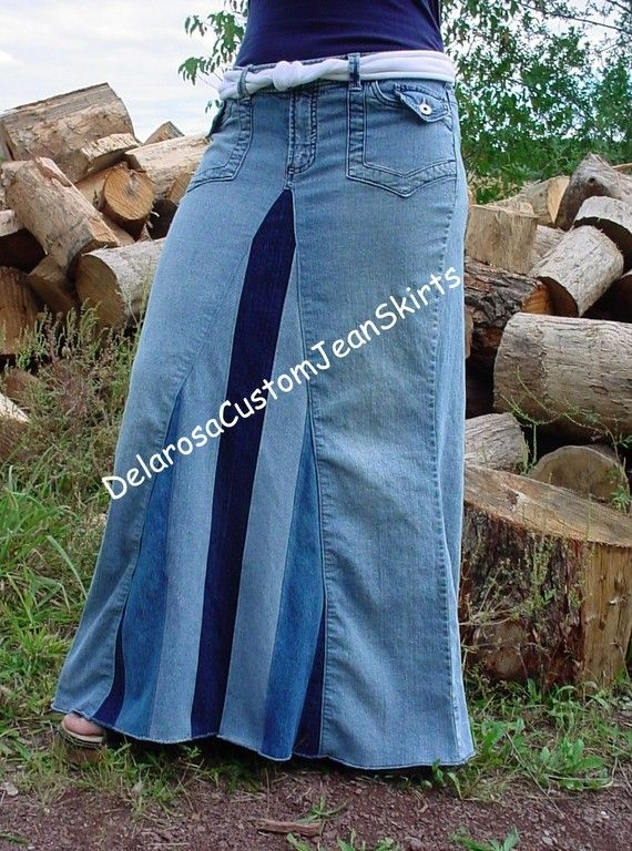 Classic Striped Long Jean Skirt Custom to Your by CustomJeanSkirts, $58.00