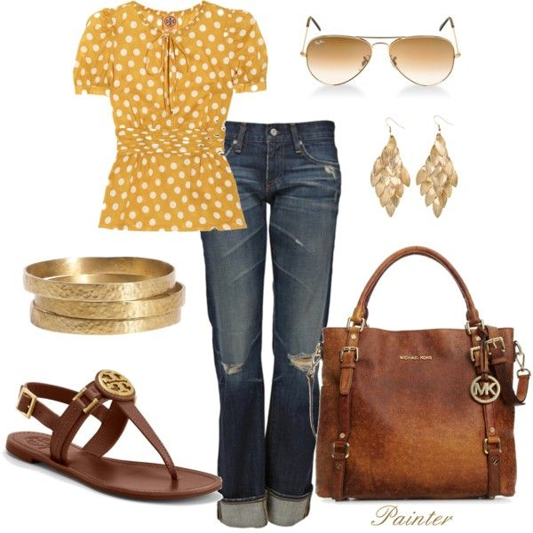 Gold, Yellow and Brown!! Love!: Casual Friday, Polka Dots, Shirts, Michael Kors, Jeans, Casual Outfits, Polkadots, Spring Outfits, Bags