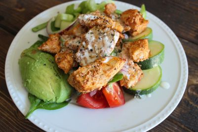 Buffalo chicken salad!  + Dairy free ranch dressing and Jamaican hot sauce recipe!