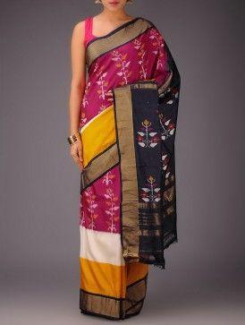 White-Red-Yellow-Navy Pochampally Ikat Silk Saree