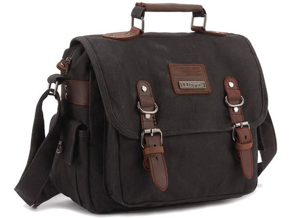 """Main Material: Quality canvas withfinishedleather accents. Size: L:12"""" H:10""""W: 5"""" Interior: Additional zipper pocket on back liningon the bag.There are a"""