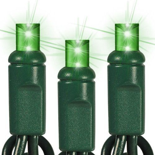 (50) Bulbs - LED - Green Wide Angle Mini Christmas Lights - Length 25 ft. - Bulb Spacing 6 in. - 120V - Green Wire . $19.46. Part No. 1100028 - Wattage 3.5 Watt - Connection Male to Female - Lead Length 4 in. - Lighted Length 24.5 ft. - Tail Length 4 in. - Max. Connections 60 Sets - Wire Gauge 22 AWG - UL Listed Indoor/Outdoor - Warranty 3 Seasons -