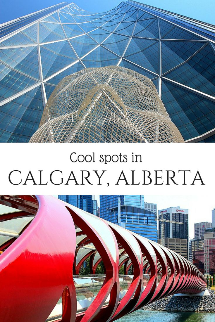 Cool spots in Calgary, Alberta, Canada, including the famous Peace Bridge, beautiful Prince's Island Park, and the Red Mile.