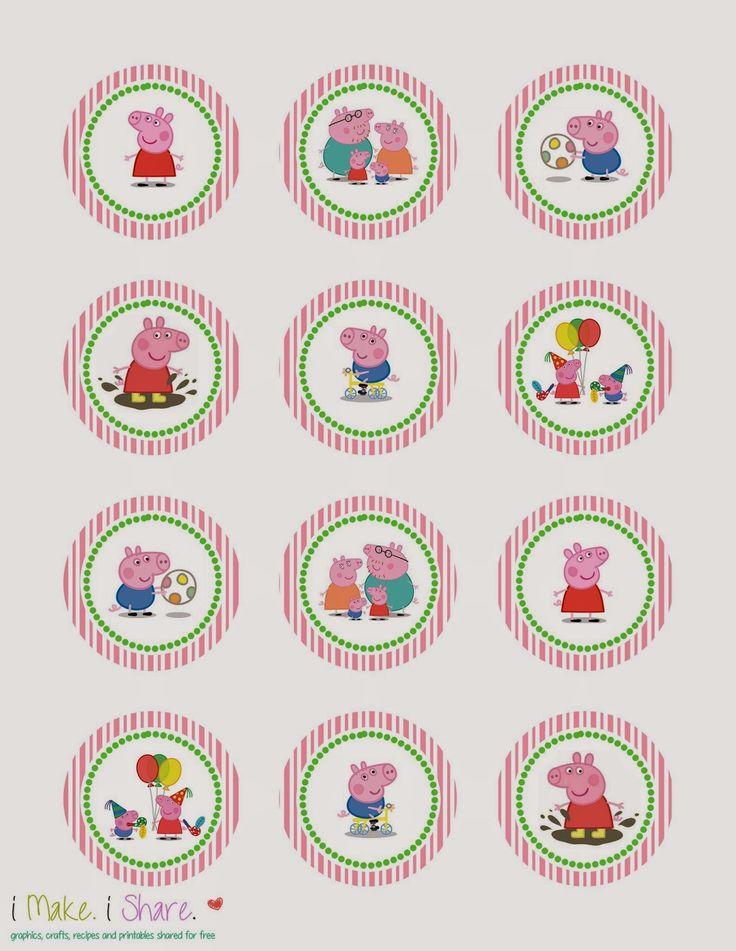 I Make I Share: Peppa Pig Cupcake Template