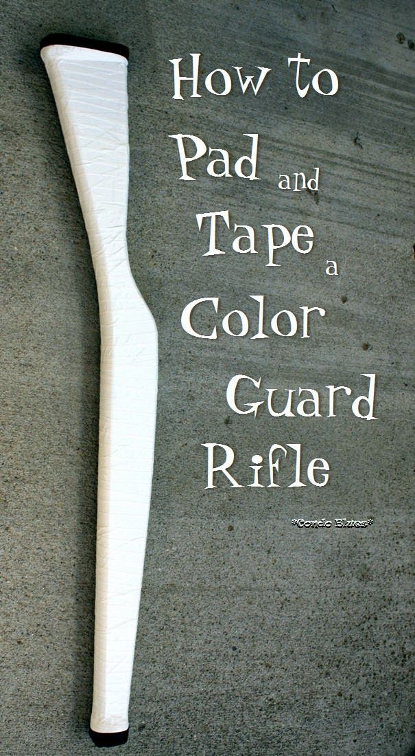 How to pad, tape, decorate a color guard rifle updated to show how to tape an Elite rifle with a strap! Winter Guard, Drum Corps, Marching Band