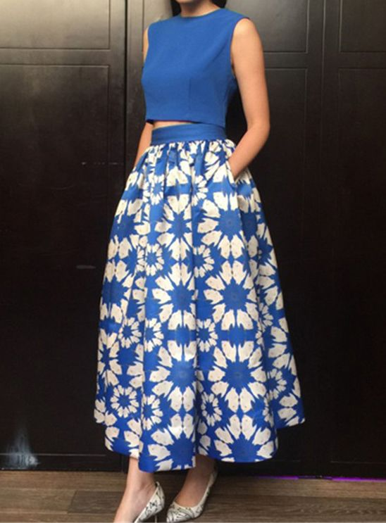 Blue Sleeveless Crop Top With Floral Skirt, #Two-piece_Outfits, #twopiece150716051
