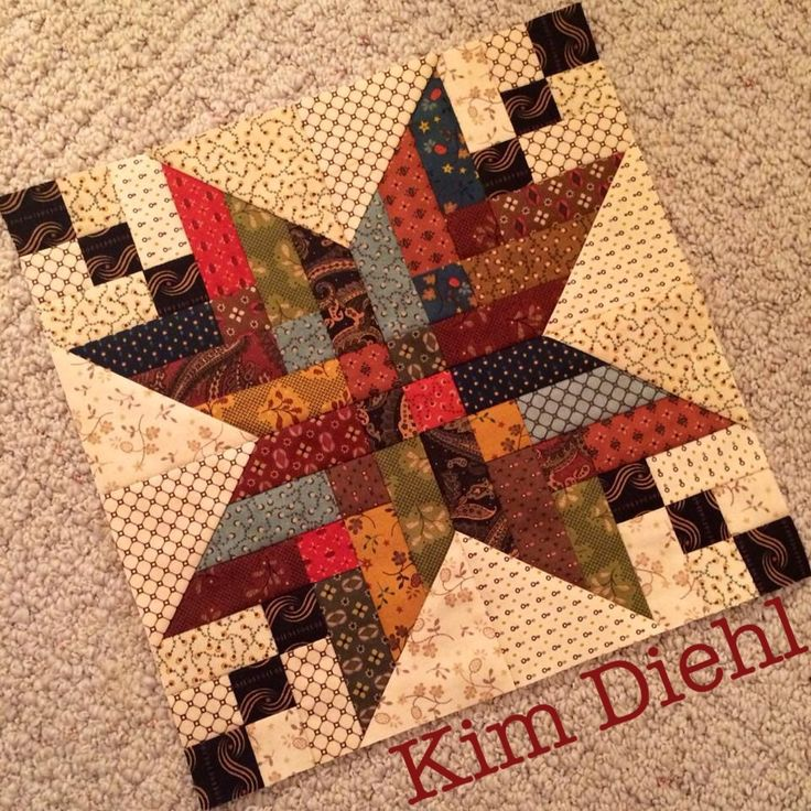 It's no secret that I never met a star block I didn't like. But this scrappy strippy patchwork block for my Farmhouse Stars quilt has to be my all-time favorite! That sound you hear is me. Squealing! -Kim Diehl