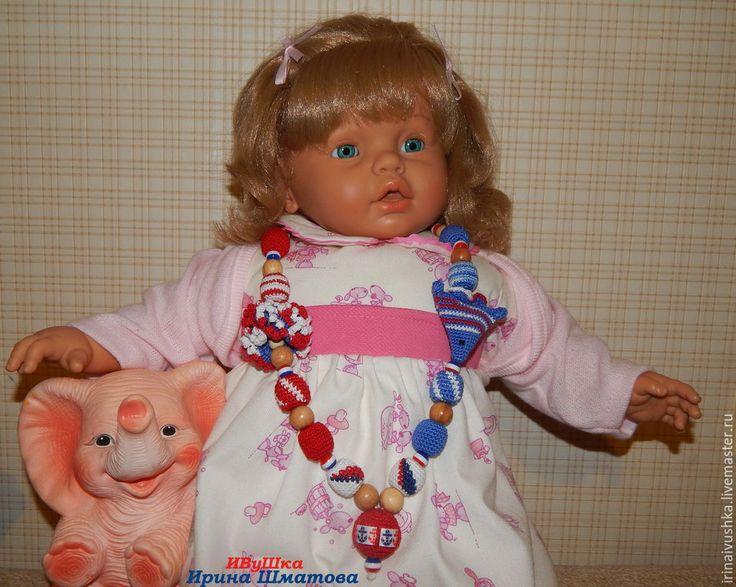 """Купить Вязаные слингобусы """"Морские"""" (3) - слингобусы, слингобусы с игрушкой, мамобусы, можжевеловые бусины"""