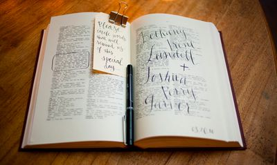 How cute is this idea? Instead of a guest book, have a dictionary where people can circle a word that describes the couple, marriage or just something funny.  Then have them write a note & sign their name.