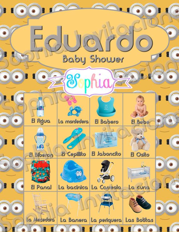 Invitacion-Loteria para Baby Shower Personalizada Minions