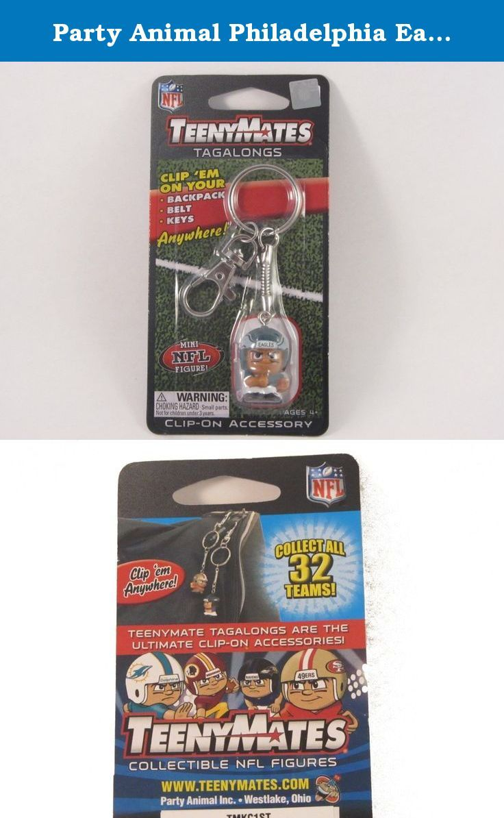 Party Animal Philadelphia Eagles NFL Teenymates Keychain Tagalong Figure. Teenymates are the ultimate 1 mini-collectible NFL figures and are now available as a tagalong! now you can take this Smash hit collectible wherever you go! This listing is for 1 officially licensed NFL Teenymates running back tagalongs. These are approximately 4.5 long from top of lobster clasp to bottom of figurine. These tagalongs feature: a lobster clasp, a keyring, and the 1 NFL team running back teenymate of…