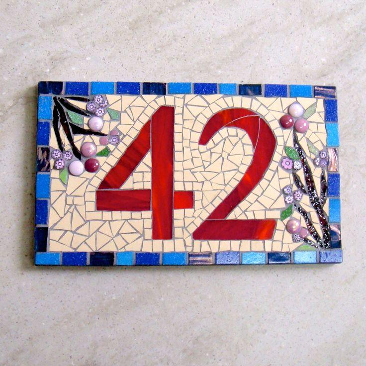Custom Mosaic House Number by FunkyMosaicsUK on Etsy