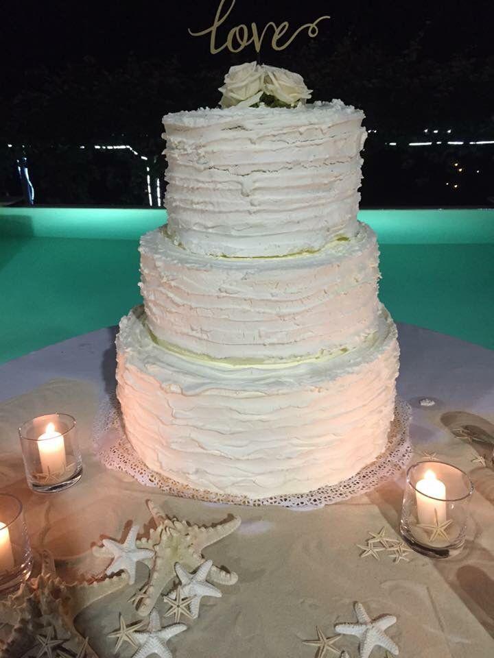 Wedding cake, panna, candele, matrimonio marino, stella marina, matrimonio mare, torta per matrimonio