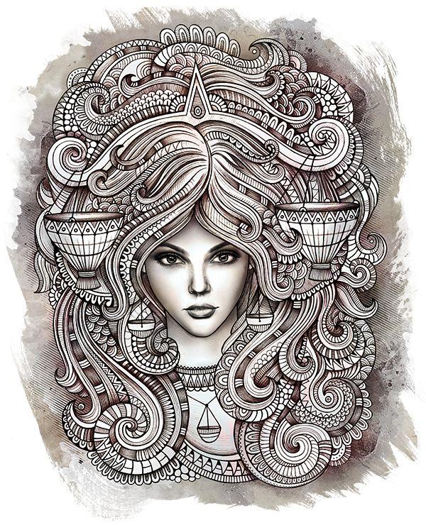 Kleurplaat Sterrenbeeld-Horoscoop *Colouring Pictures Zodiac ~9: Weegschaal 24-09/23-10 *Libra~ (van Olka Kostenko)