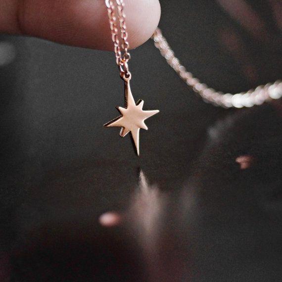 North Star Halskette rose gold zierliche von RabbitsFantasyWorld