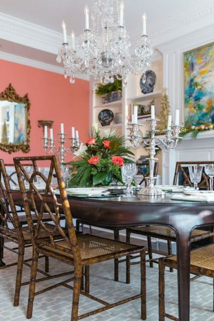 A pink blue and white southern christmas the glam pad for Southern dining room