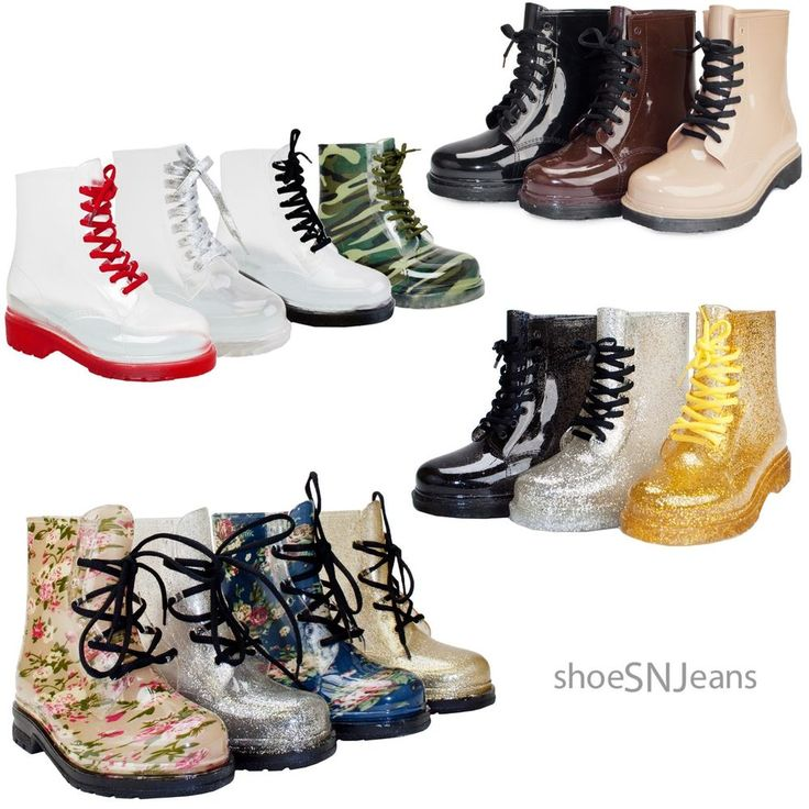 New Women Clear Jelly Rain Boots Lace Up Low Ankle Flat Rubber Wellies Shoes #Unbranded #JellyShoesRainBoots $20.39