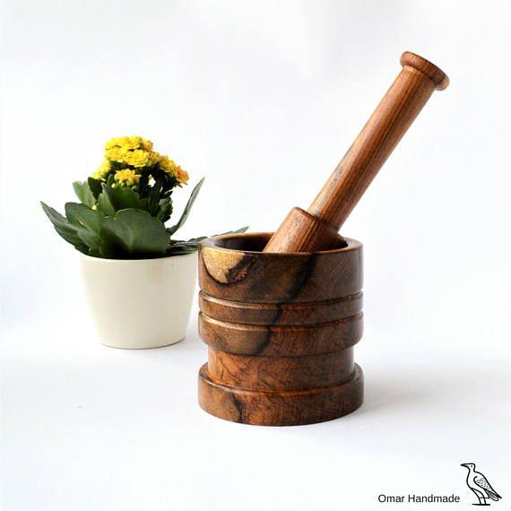 Rosewood mortar and pestle set Antique kitchen Vintage