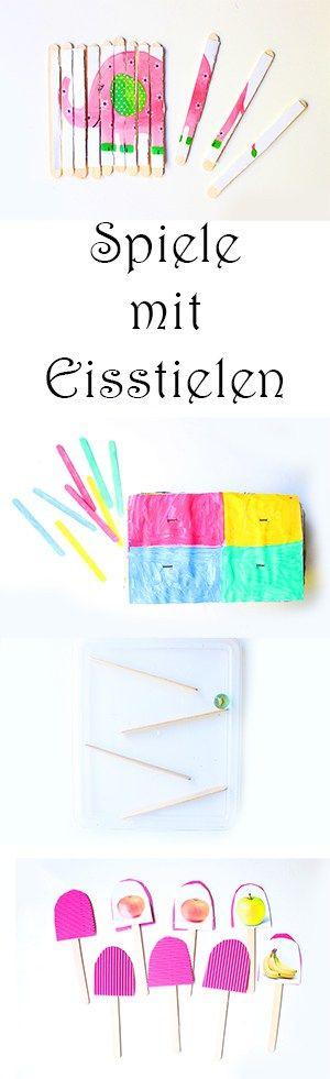 Basteln mit Eisstielen: 4 einfache Spiele für Kinder selber machen. Puzzle, Memory, Farbenspiel, Murmelspiel aus Eisstielen