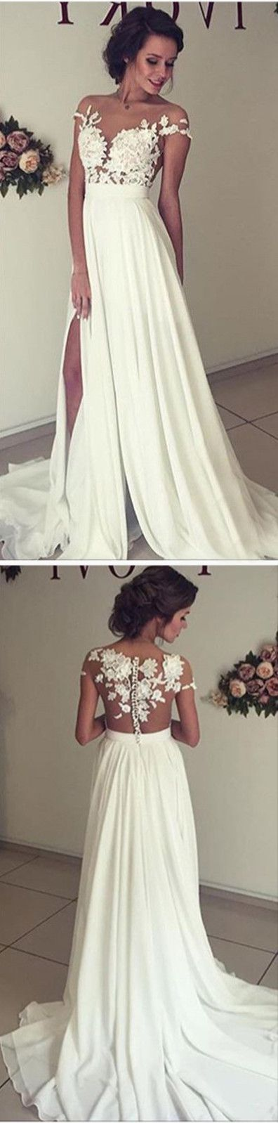 Lace Bodice Chiffon Wedding Dress Lace Beach Wedding Gown,White Prom Dress