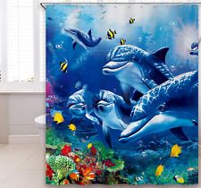 Bathroom Shower Curtain Set Polyester Fabric Waterproof Decor Blue Sea Dolphin