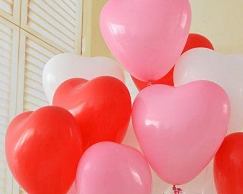 ハート 型 バルーン 風船 3色 ( 赤 ピンク 白 ) 100個 空気入れ Tick Nick オリジナル メッセージカード 3点 セット / 結婚式 2次会…