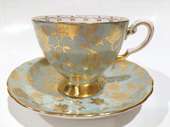 Luscious Tuscan Tea Cup and Saucer, Tea Set, Aqua Gold Cups, English Bone China…