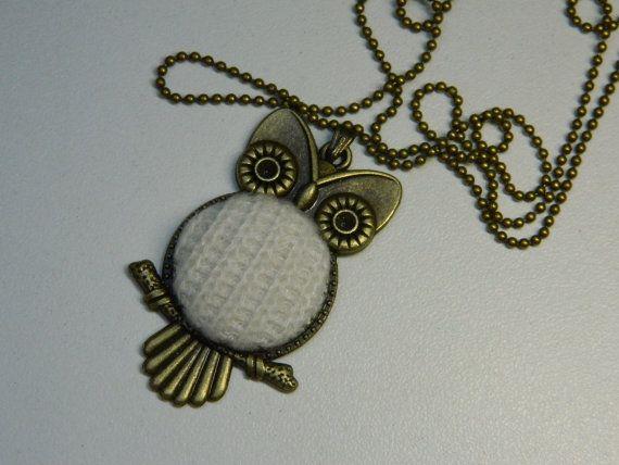 White Fabric Button Owl Pendant Gift for Her by LittleRubyAtom