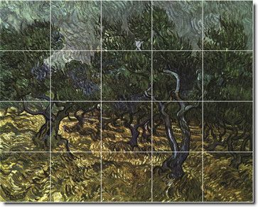 The Olive Grove 1889 Tile Mural By Vincent Van Gogh - traditional - Tile - Picture-Tiles