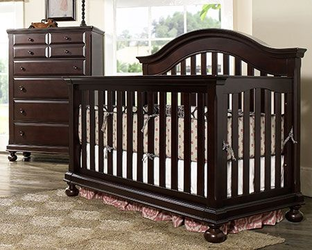 This convertible crib piece for your little bundle of joy #darkwood #crib #convertible