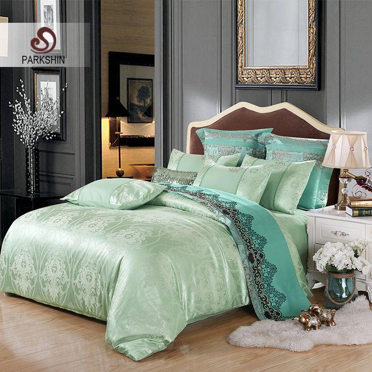 ParkShin Tibutle Silk Bedding Set Luxury Tencel Silk Duvet Cover Set Light Green Bed Linen 4pcs Bedclothes Jacquard Queen King #Affiliate