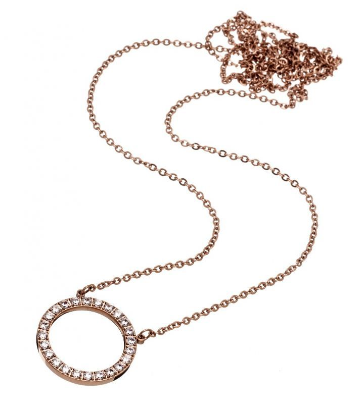 Glow necklace, rose gold Featuring a ring with 24 Cubic Zirconia gemstones Diameter 20 mm Length 82cm