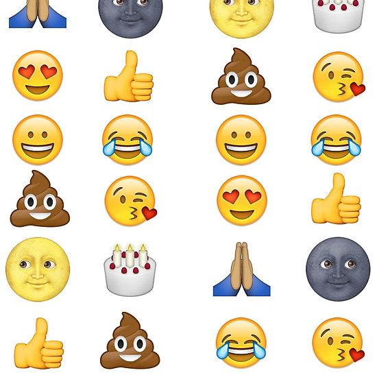 Top emoji collection - poop, smiley face, moon face & friends