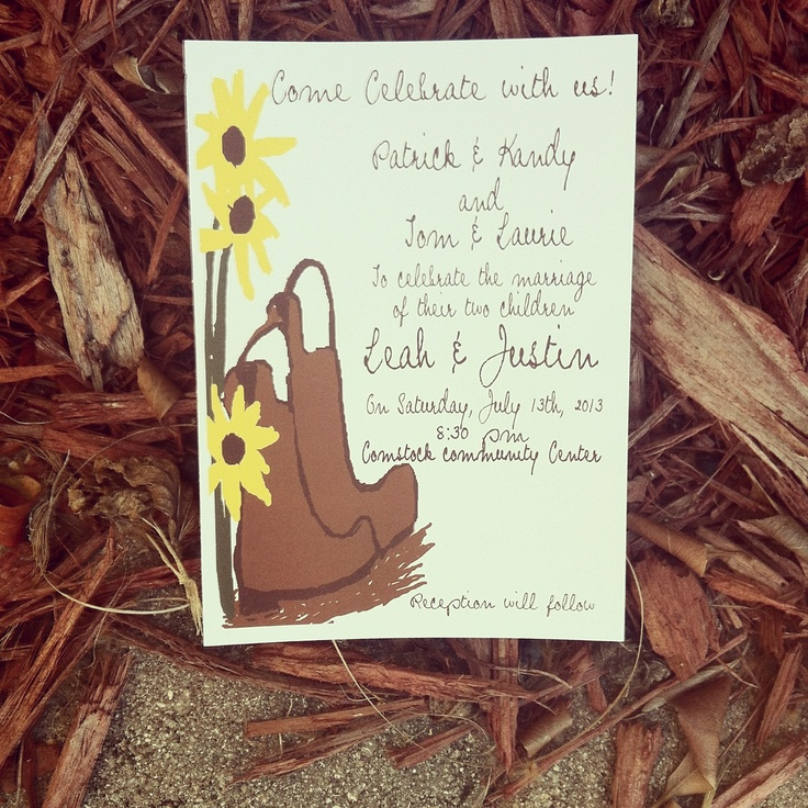 Cowboy boots with sunflower wedding invitations 12