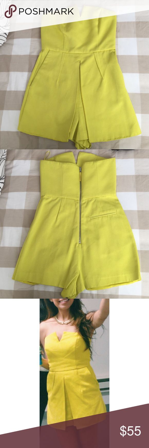 Neon Yellow Romper Top Shop size 4.  Neon yellow romper with zipper on the back and has pockets. Worn once and in excellent condition. Dresses Strapless