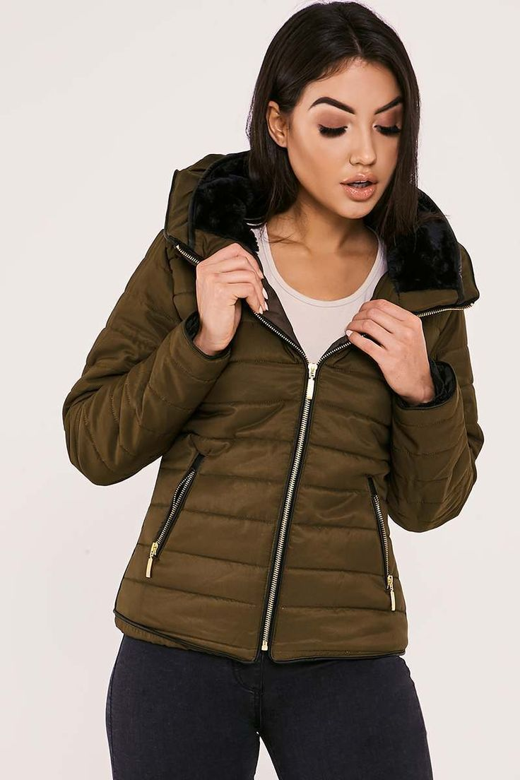 OSSIE KHAKI PADDED JACKET  | In The Style