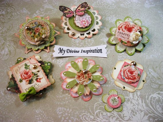 Rose Scrapbook Embellishments Paper by mydivineinspiration on Etsy, $4.99