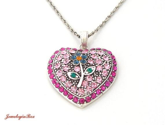 Heart Necklace With Swarovski Crystals Wedding by JewelryinBox, $35.00