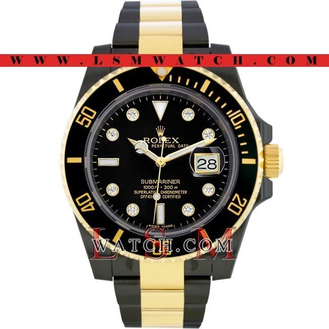 Rolex Gold & Steel PVD/DLC SUBMARINER BLACK CERAMIC DIAMOND Watch - NEW 116613 #Rolex #Casual