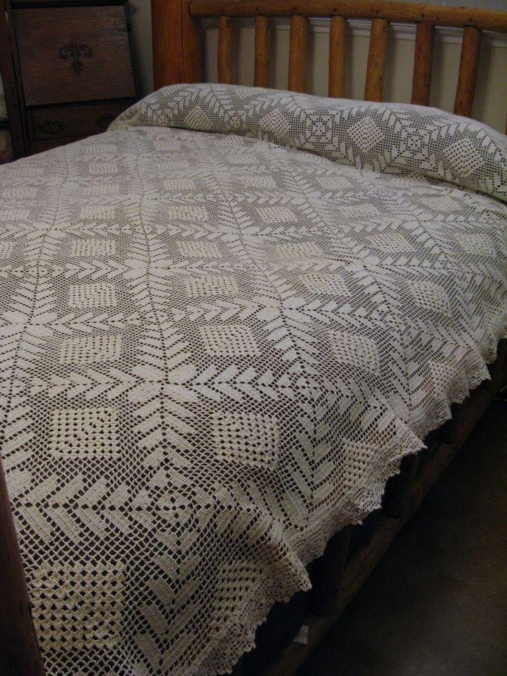 Vintage Popcorn Fillet Floral Leaf Crochet Bedspread King Queen Full Twin 80x104