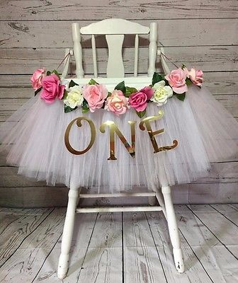 High Chair Tutu- White & Pink High Chair Skirt- Highchair tutu- Highchair Banner