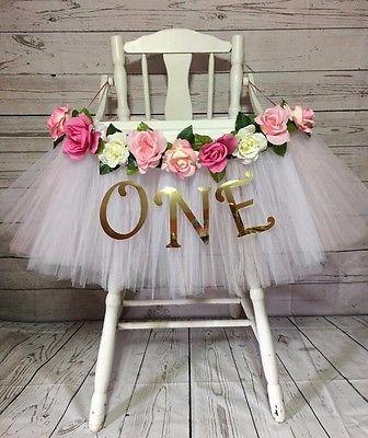 High Chair Tutu- White & Pink High Chair Skirt- Highchair tutu- Highchair Banner