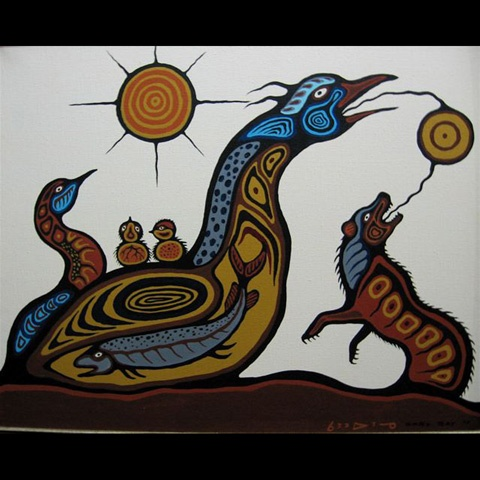 "CARL RAY (CANADIAN, Woodland Cree, 1942-1978)  UNTITLED (BIRDS/FISH/WOLF)  ACRYLIC ON CANVAS; SIGNED AND DATED '77 LOWER RIGHT  24.00"" x 30.00"", 61.00 cm x 76.20 cm"