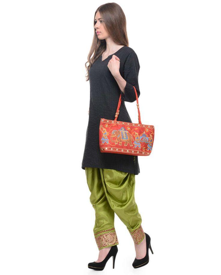 Green Hand-Block Printed Dhoti Salwar With Handbag