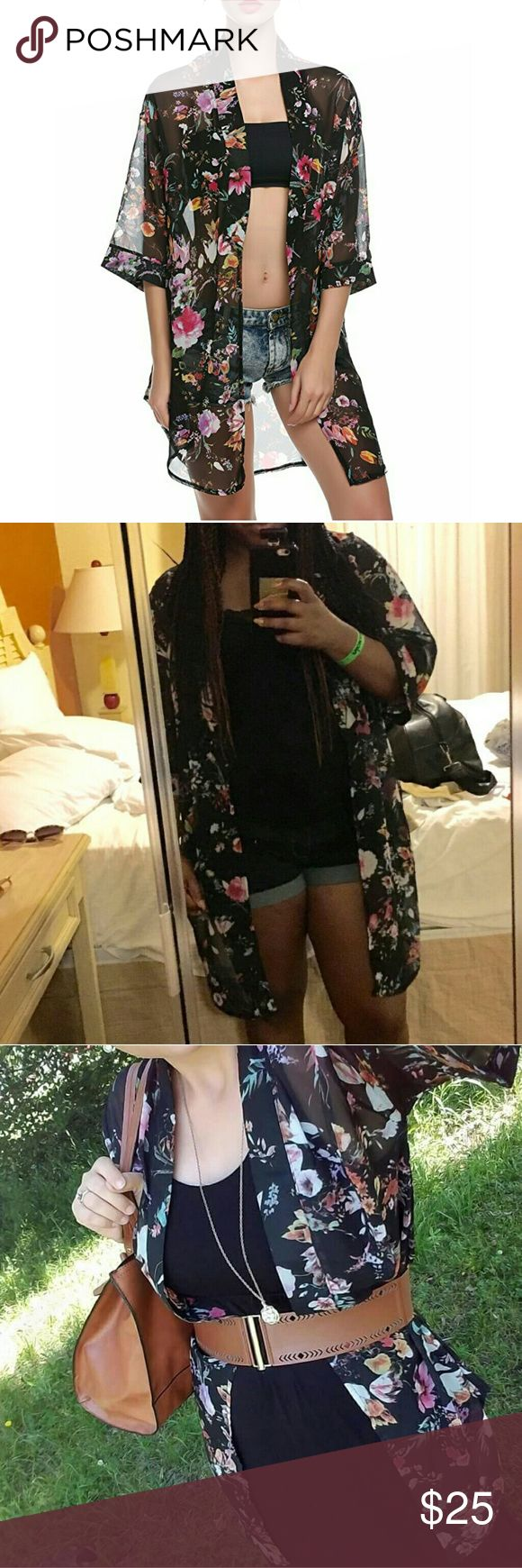 Black Chiffon Floral Print Kimono Garment Care: Hand-wash and Machine-wash Material: Chiffon Kimonos are Asian sizes!! Please MEASURE YOURSELF BEFORE ORDERING :)  Asian XL = US Medium  Shoulder 21.8 Sleeve 12.5 Bust 43.7 Max length 34.7 Tops