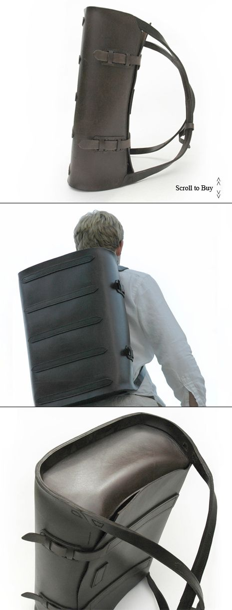 Parachuter Leather Back-bag. Perfect for the business professional who rides a bike/motorcycle!