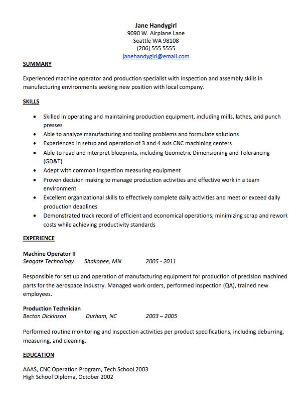 best resume objectives teachers revolution russe resume custom – Machine Operator Resume