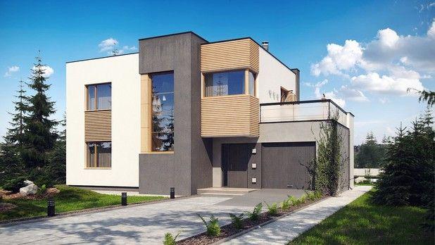Projekt TWF-837 to dom zaprojektowany w duchu modernistycznej architektury. Okładziny elewacyjne z naturalnego drewna oraz ciekawa kolorystyka podkreślają jego nowoczesny wygląd. Oryginalnym dodatkiem jest wykusz od frontu, w którym mieści się klatka schodowa. Duże okno idealnie doświetla strefę komunikacyjną oraz podnosi walory estetyczne.